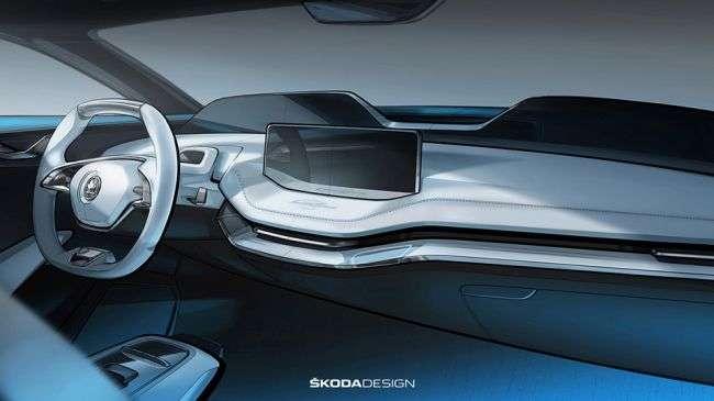 Skoda вперше показала інтерєр нового электрокроссовера Vision E